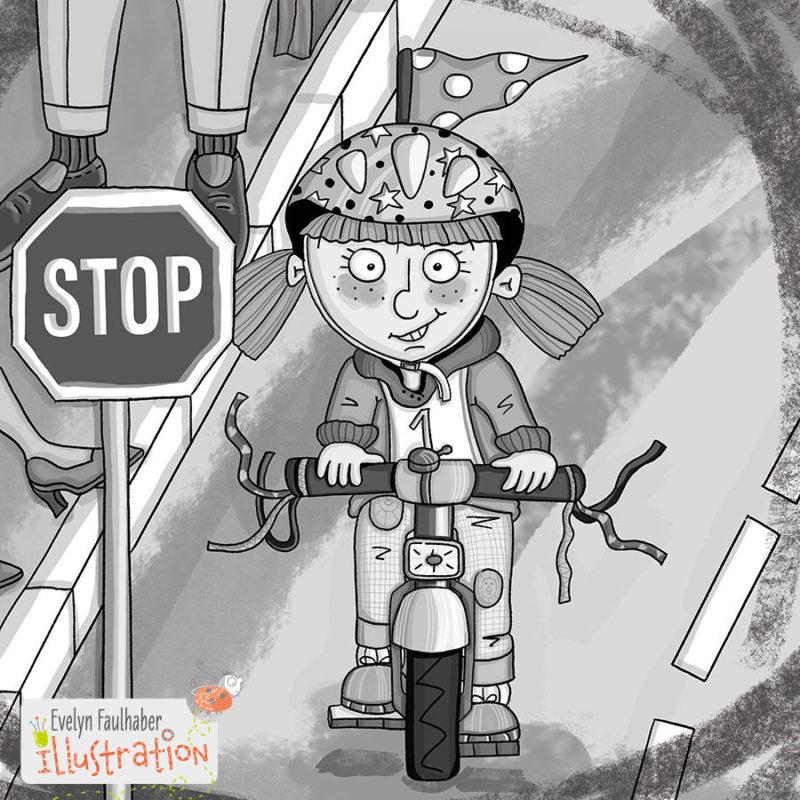 fahrradpruefung schulbuch illustration