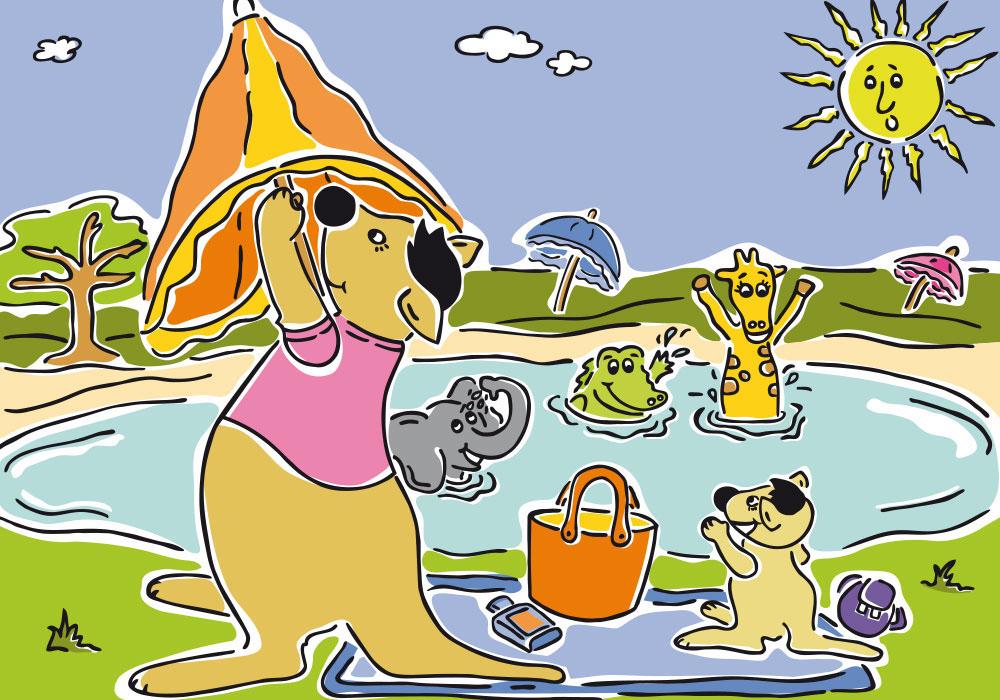 sonnenkinder, dm, illustration, Evelyn Faulhaber, illustration, Sonnenschutz, Känguru Toni