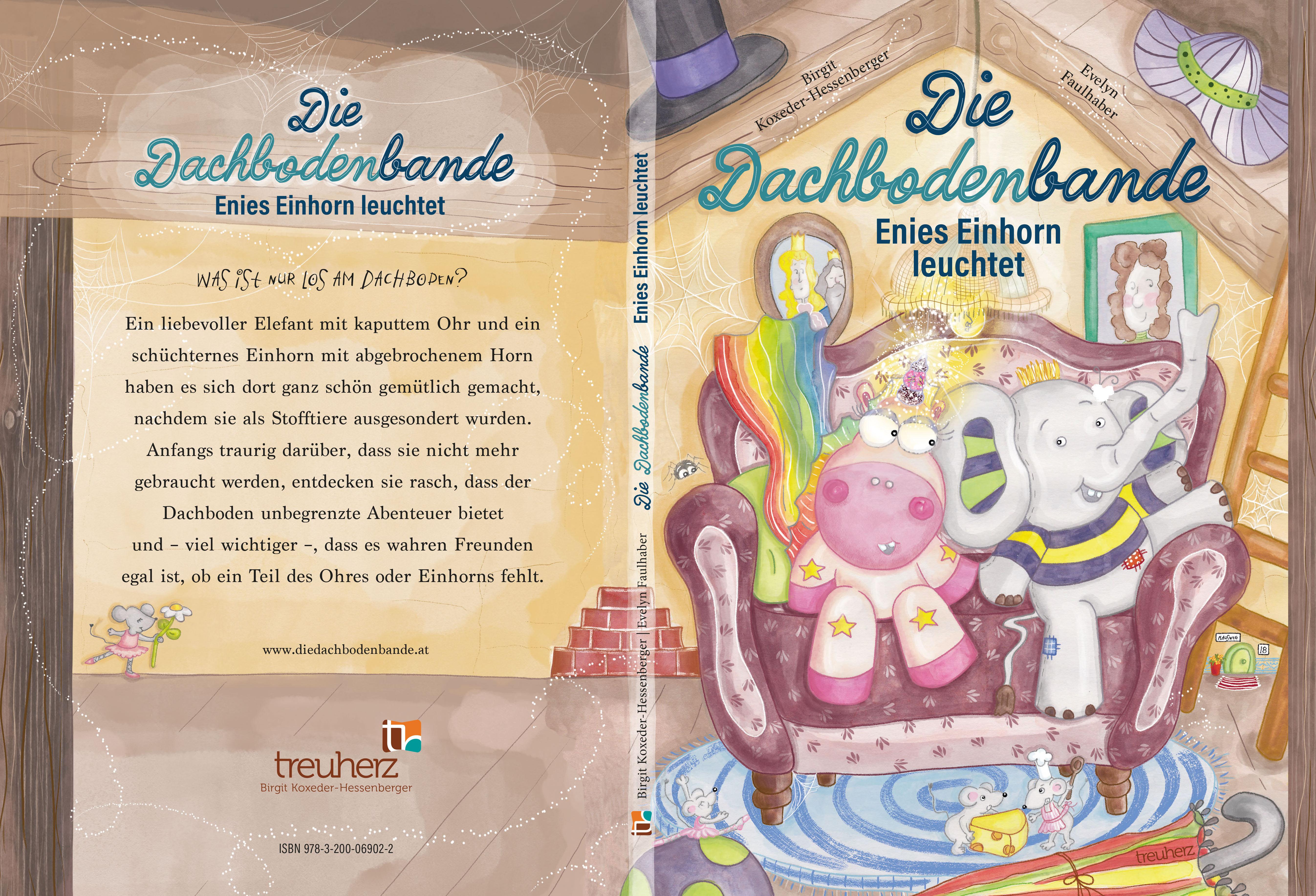 die dachbodenbande, kinderbuch, birgit-koxeder-hessenberger, bilderbuch, einharn, elefant