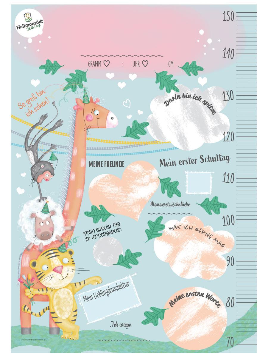 geschenk zur geburt, geburten-package, geschenk gemeinde, babygeschenk, messlatte, poster, meilensteine, bild für das kinderzimmer, illustration, kinder