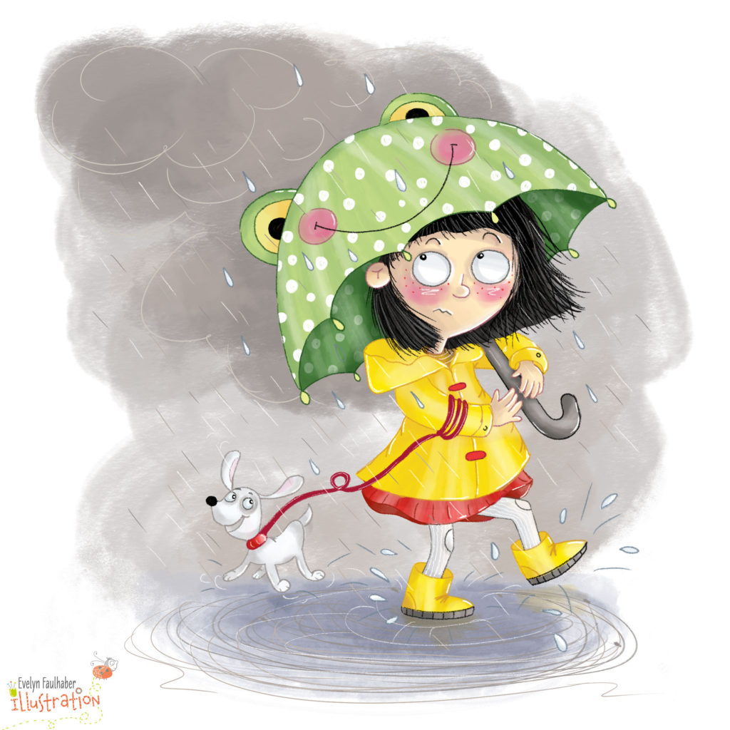 regenschirm, dailydoodle, illustration kinder, charakter design, evelyn faulhaber illustration, regen