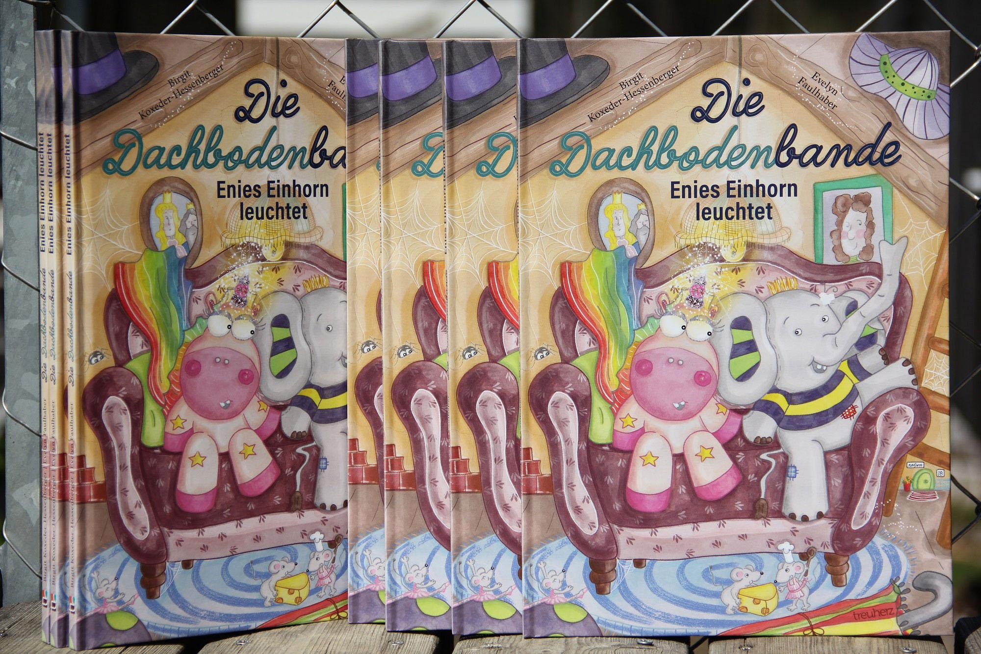 die dachbodenbande - enies einhorn leuchtet, einhorn, elefant, kinderbuch, treuherz verlag, evelyn faulhaber illustration, birgit koxeder-hessenberger