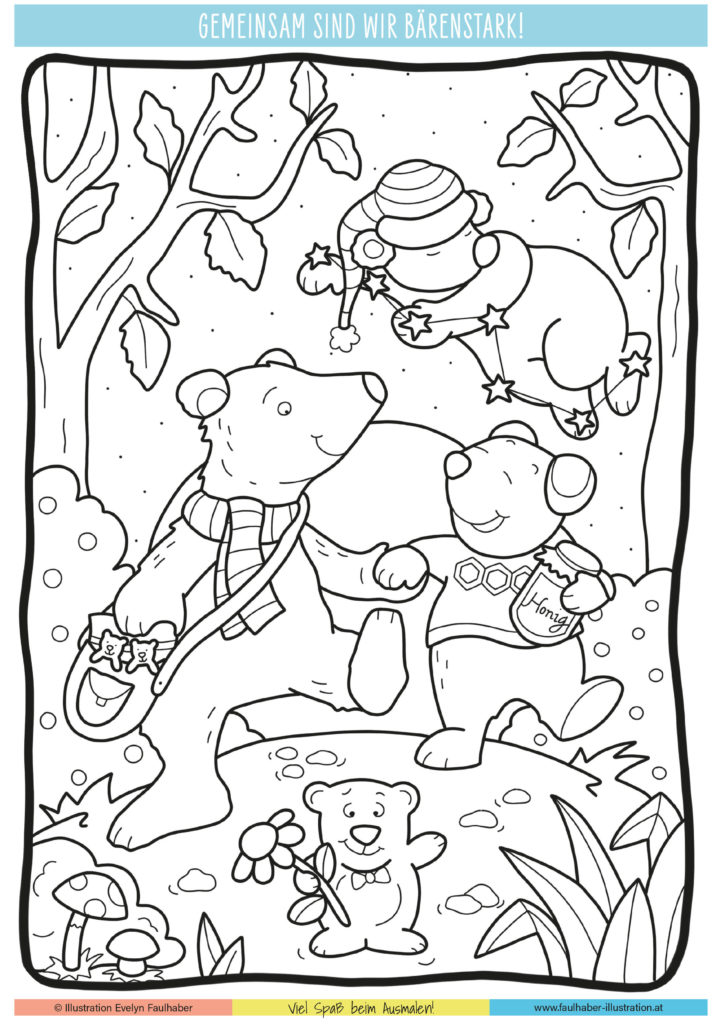 ausmalbild, bärenstarkes fest, kindergarten st. gilgen, evelyn faulhaber illustration