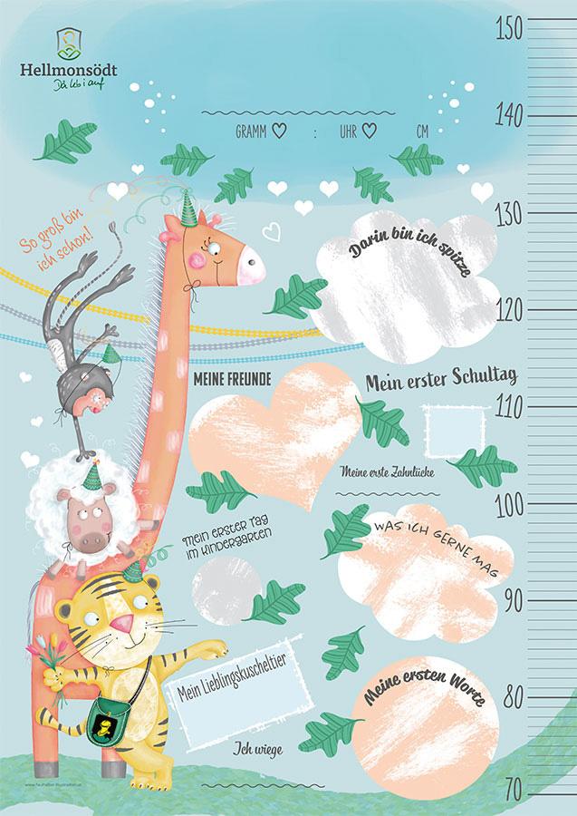 gemeinde hellmonsödt, geburten-paket, geschenk zur geburt, evelyn faulhaber illustration