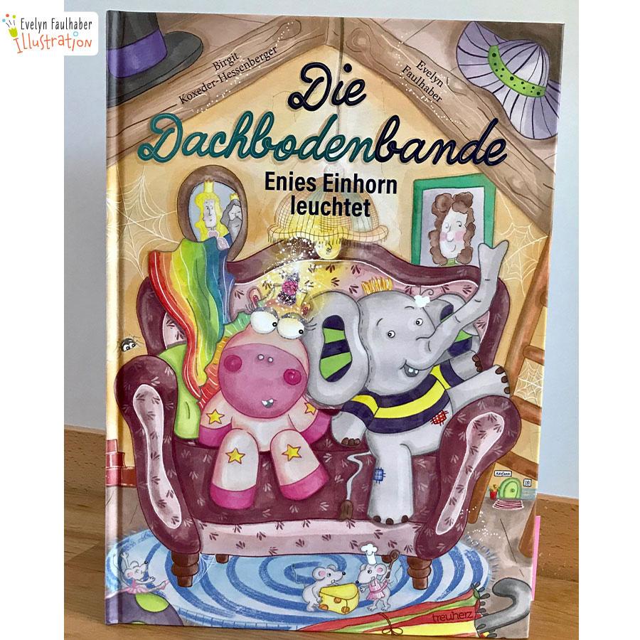 die dachbodenbande, evelyn faulhaber, evelyn faulhaber illustration, treuherz verlag, kinderbuch, illustration