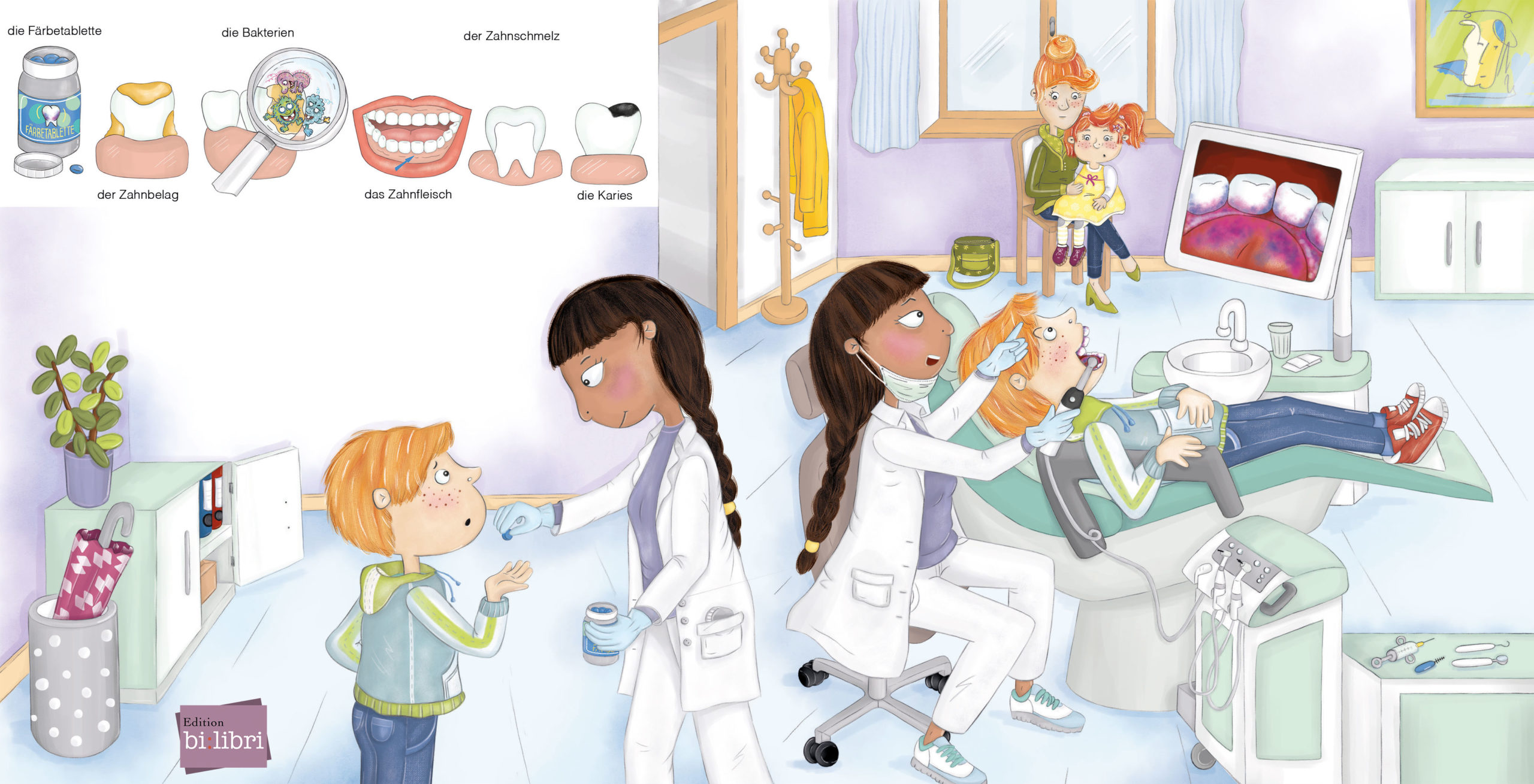 beim Zahnarzt, bilibrini, Verlag Edition Bi:libri, Kinderbuch, Evelyn Faulhaber Illustration
