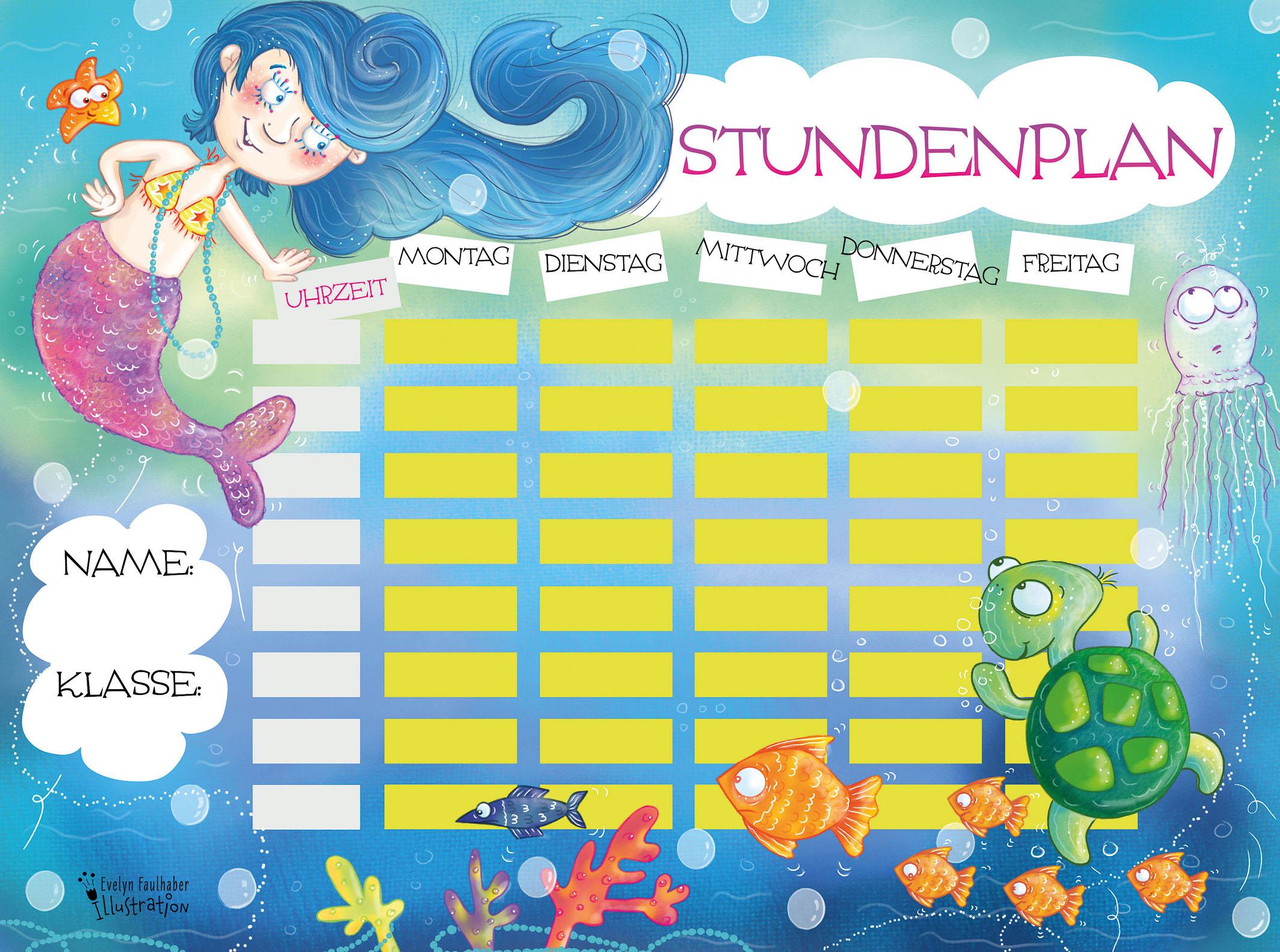 freebie, stundenplan, illustration meerjungfrau, unterwasserwelt, evelyn faulhaber illustration, kinderbuchillustratorin, kinderbuchillustration, illustratorin österreich