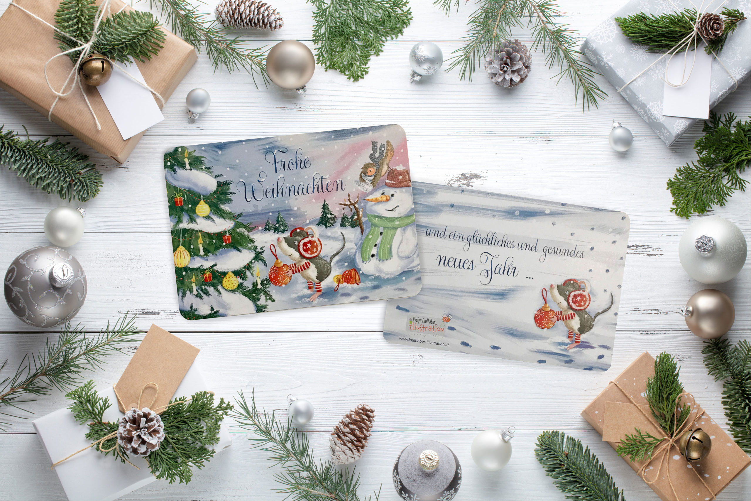 weihnachtskarte, weihnachten, maus, tiere im wald, schneemann, weihnachtsmaus, christbaum, evelyn faulhaber illustration
