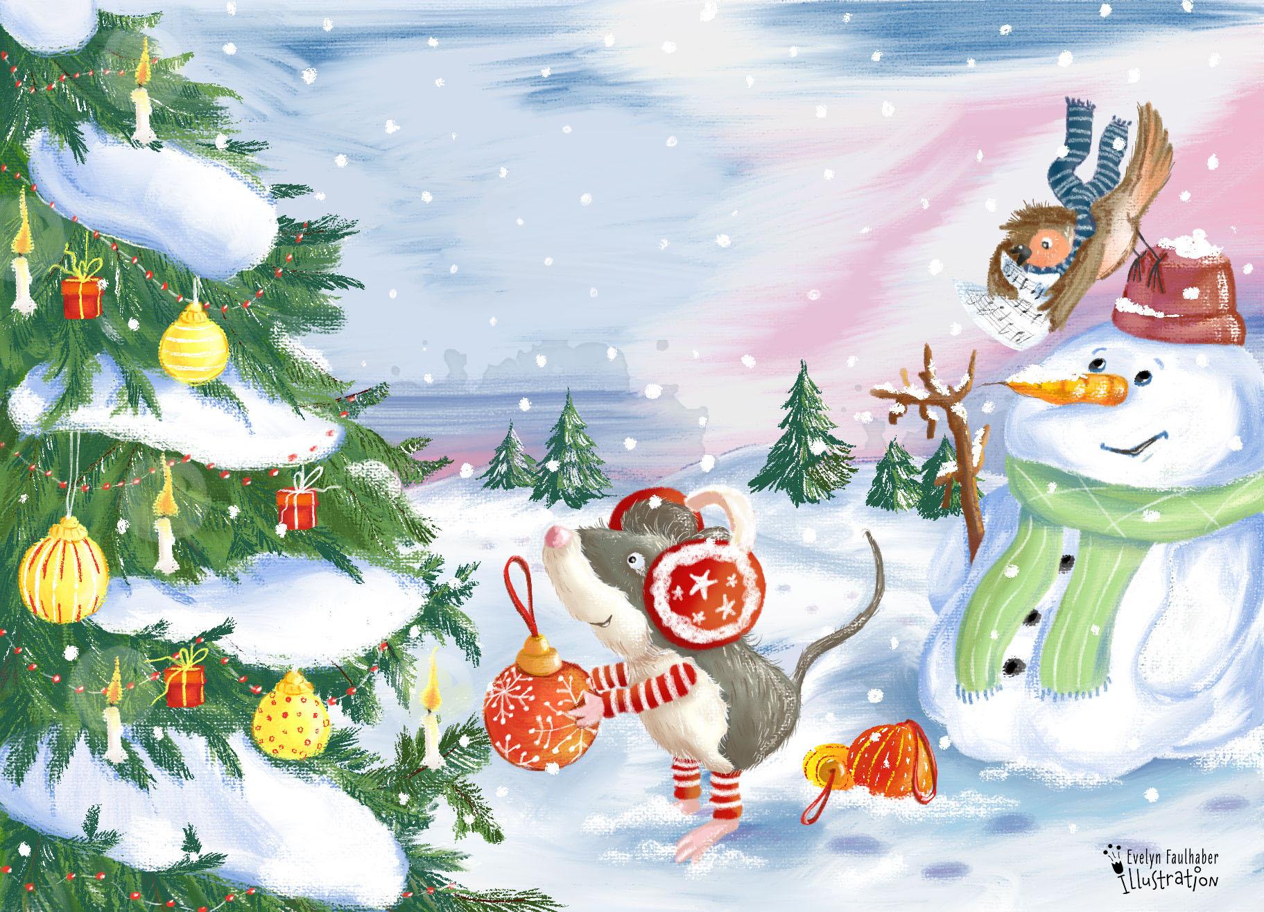 tiere, wald, weihnachten, illustration, kinderbuch, kinderbuchillustration, winter,maus
